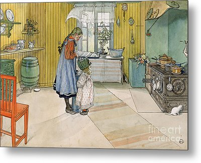 The Kitchen From A Home Series Metal Print by Carl Larsson