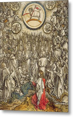 The Lamb Of God Appears On Mount Sion, 1498  Metal Print by Albrecht Durer or Duerer