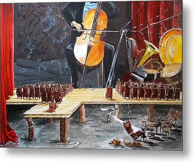The Last Concert Listen With Music Of The Description Box Metal Print by Lazaro Hurtado