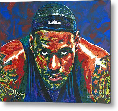 The Lebron Death Stare Metal Print by Maria Arango