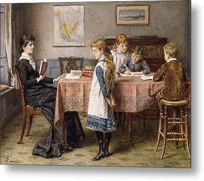 The Lesson Metal Print by  George Goodwin Kilburne