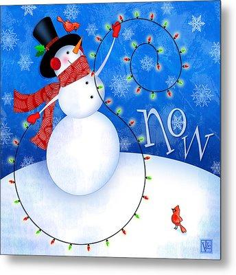 The Letter S For Snowman Metal Print by Valerie Drake Lesiak