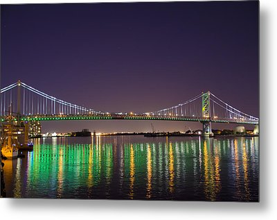 The Lighted Ben Franklin Bridge Metal Print by Bill Cannon