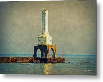 The Lighthouse And The Fisherman Metal Print by Mary Machare