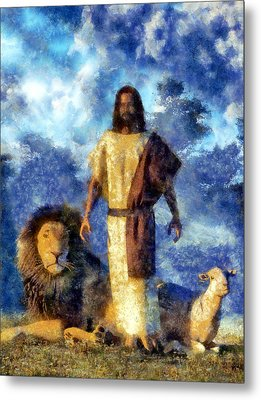 The Lion And The Lamb Metal Print by Christian Art