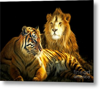 The Lions Den 201502113-2brun Metal Print by Wingsdomain Art and Photography