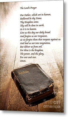 The Lord's Prayer And Bible Metal Print by Olivier Le Queinec