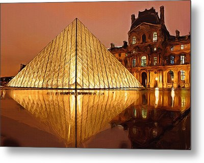 The Louvre By Night Metal Print by Ayse Deniz