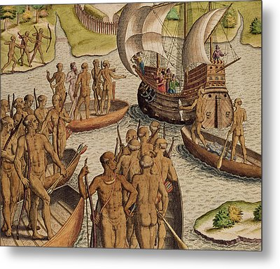The Lusitanians Send A Second Boat Towards Me, From Americae Tertia Pars Metal Print by Theodore de Bry