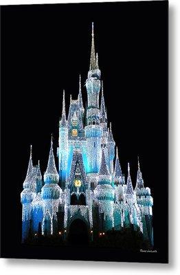 The Magic Kingdom Castle In Frosty Light Blue Walt Disney World Metal Print by Thomas Woolworth
