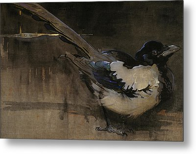 The Magpie Metal Print by Joseph Crawhall