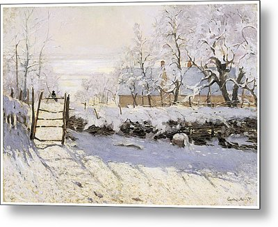 The Magpie Snow Effect Metal Print by Claude Monet