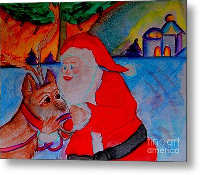 The Man In The Red Suit And A Red Nosed Reindeer Metal Print by Helena Bebirian