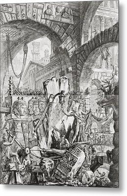 The Man On The Rack Plate II From Carceri D'invenzione Metal Print by Giovanni Battista Piranesi