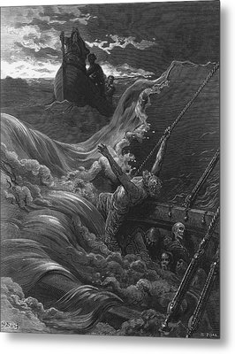 The Mariner As His Ship Is Sinking Sees The Boat With The Hermit And Pilot Metal Print by Gustave Dore