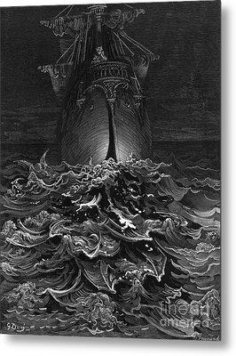 The Mariner Gazes On The Ocean And Laments His Survival While All His Fellow Sailors Have Died Metal Print by Gustave Dore