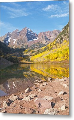 The Maroon Bells Near Aspen Colorado Metal Print by Alex Cassels