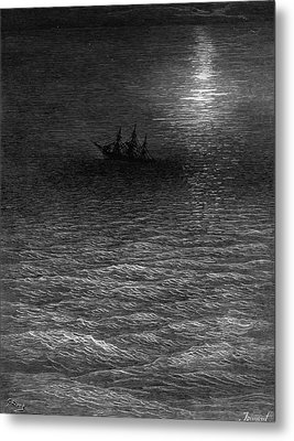 The Marooned Ship In A Moonlit Sea Metal Print by Gustave Dore
