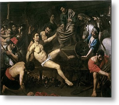 The Martyrdom Of St. Lawrence Metal Print by Valentin de Boulogne