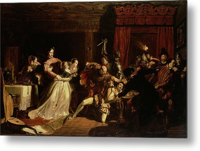 The Murder Of David Rizzio, 1833 Oil On Panel Metal Print by Sir William Allan
