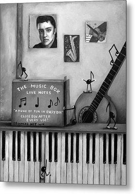 The Music Box Bw Metal Print by Leah Saulnier The Painting Maniac