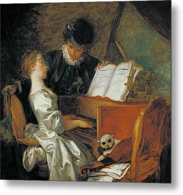 The Music Lesson Oil On Canvas Metal Print by Jean-Honore Fragonard