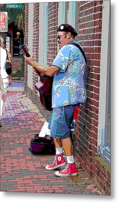 The Music Man And His Red Shoes Metal Print by Suzanne Gaff