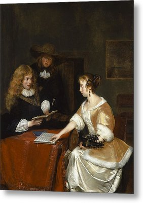 The Music Party, C.1668-70 Oil On Panel Metal Print by Gerard ter Borch or Terborch