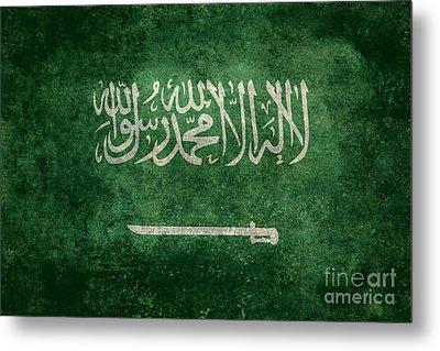 The National Flag Of  Kingdom Of Saudi Arabia  Vintage Version Metal Print by Bruce Stanfield
