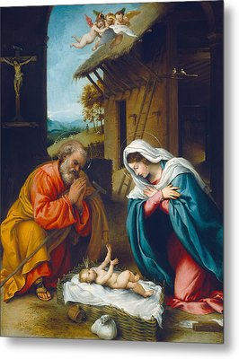 The Nativity 1523 Metal Print by Lorenzo Lotto