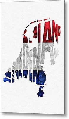 The Netherlands Typographic Map Flag Metal Print by Ayse Deniz