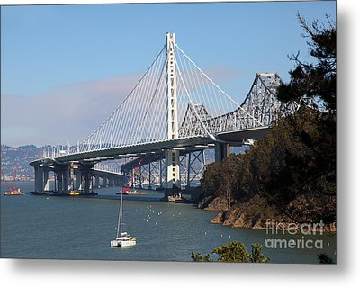 The New And The Old Bay Bridge San Francisco Oakland California 5d25405 Metal Print by Wingsdomain Art and Photography