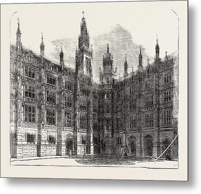 The New Houses Of Parliament Entrance To The Star-chamber Metal Print by English School