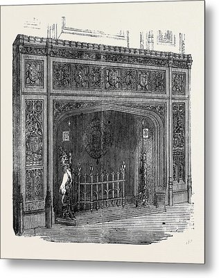 The New Houses Of Parliament Fireplace In The State Dining Metal Print by English School