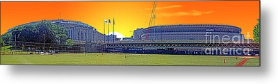 The Old And New Yankee Stadiums Side By Side At Sunset Metal Print by Nishanth Gopinathan