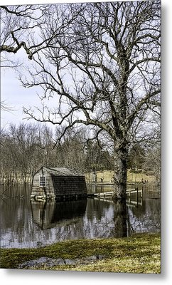 The Old Manse Boathouse Metal Print by Betty Denise