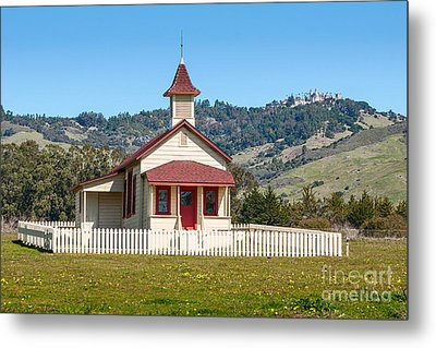 The Old San Simeon Schoolhouse In California With The Famous Hearst Castle In The Background. Metal Print by Jamie Pham