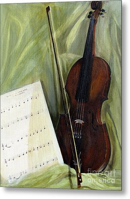 The Old Violin Metal Print by Sharon Burger