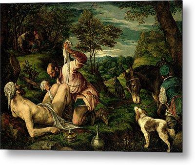 The Parable Of The Good Samaritan Metal Print by Francesco Bassano