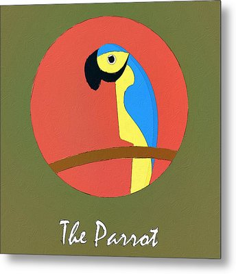 The Parrot Cute Portrait Metal Print by Florian Rodarte