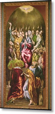 The Pentecost, C.1604-14 Oil On Canvas Metal Print by El Greco