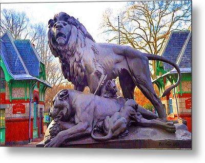 The Philadelphia Zoo Lion Statue Metal Print by Bill Cannon