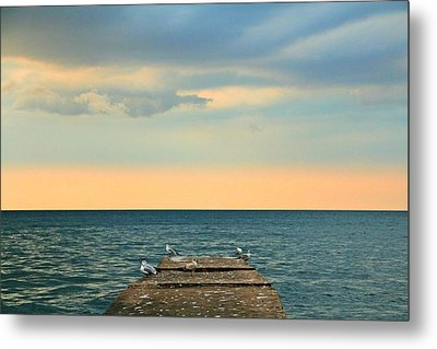 The Pier At Sunset Metal Print by Heather Allen