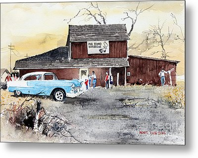 The Pig Stand Metal Print by Monte Toon