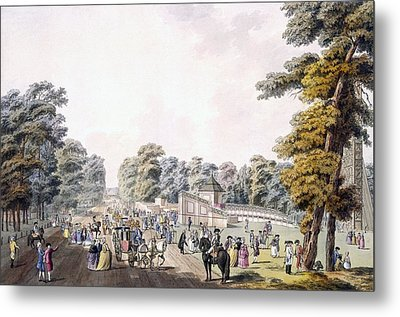 The Place Of The Fireworks At Prater Metal Print by Johann Ziegler