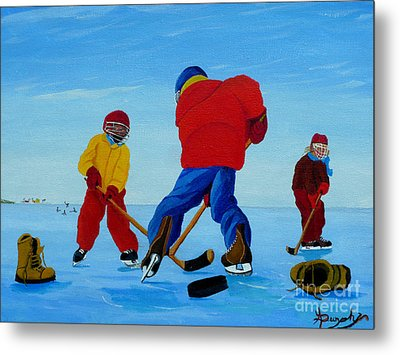 The Pond Hockey Game Metal Print by Anthony Dunphy