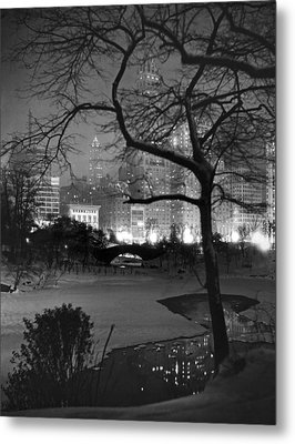 The Pond In Central Park Metal Print by Underwood Archives