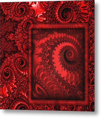 The Proper Victorian In Red  Metal Print by Wendy J St Christopher