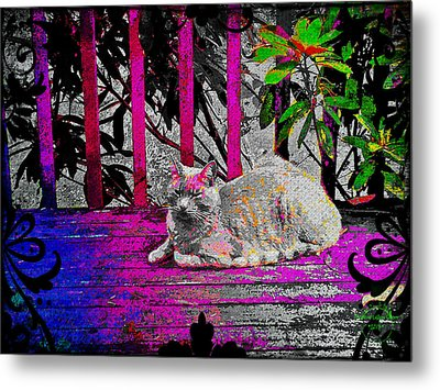 The Psychedelic Cat Metal Print by Absinthe Art By Michelle LeAnn Scott