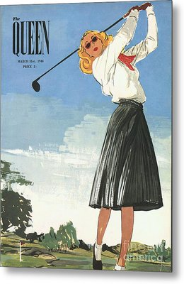 The Queen 1940s Uk Golf Womens Metal Print by The Advertising Archives